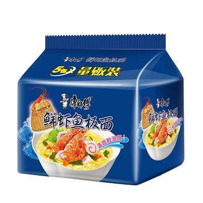 康师傅 经典袋鲜虾鱼板面 92g*5袋 方便面泡面